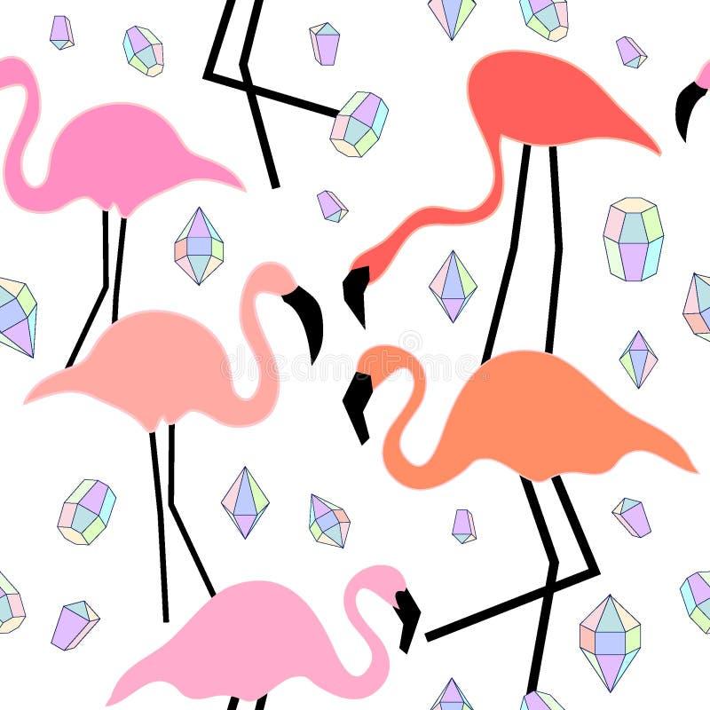 Geomericpatroon met flamingo en diamanten stock illustratie