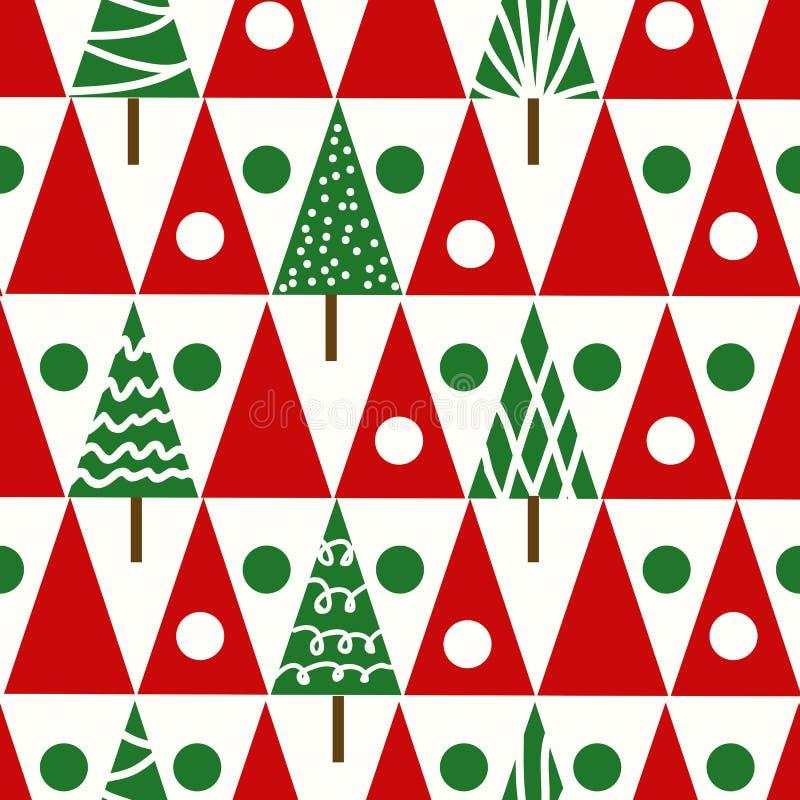Geomet senza cuciture di inverno degli alberi di Natale del modello di natale di vettore illustrazione vettoriale