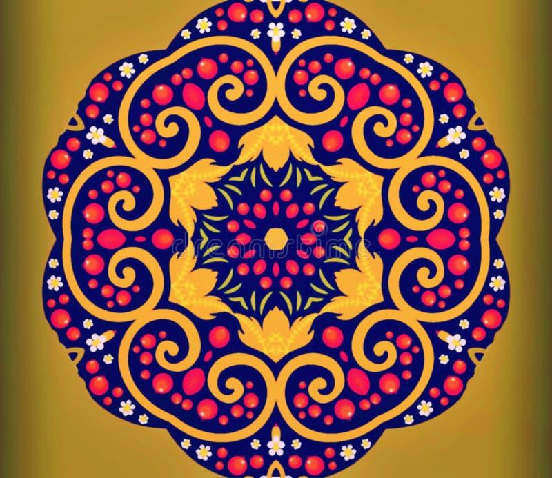 Geometría abstracta del arte moderno Mandala del este mística diseño tradicional del caleidoscopio floral Backgro simétrico psico foto de archivo