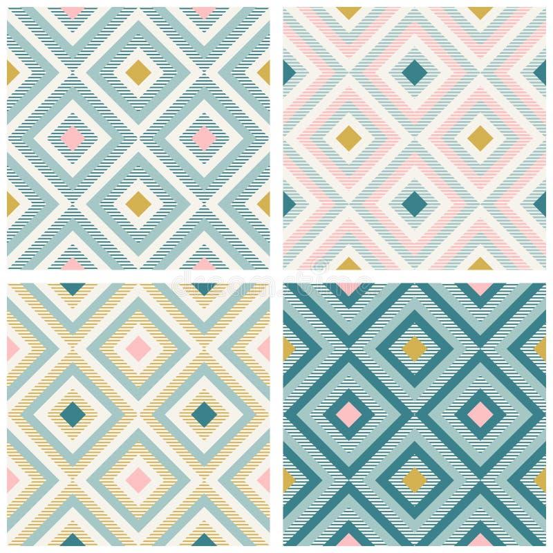 Geometría abstracta en colores retros, modelo del geo de las formas del diamante libre illustration