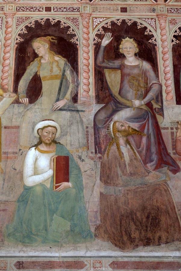 Geometría-Euclid, Astronomía-Ptolomeo, fresco en la iglesia de Santa Maria Novella en Florencia fotos de archivo
