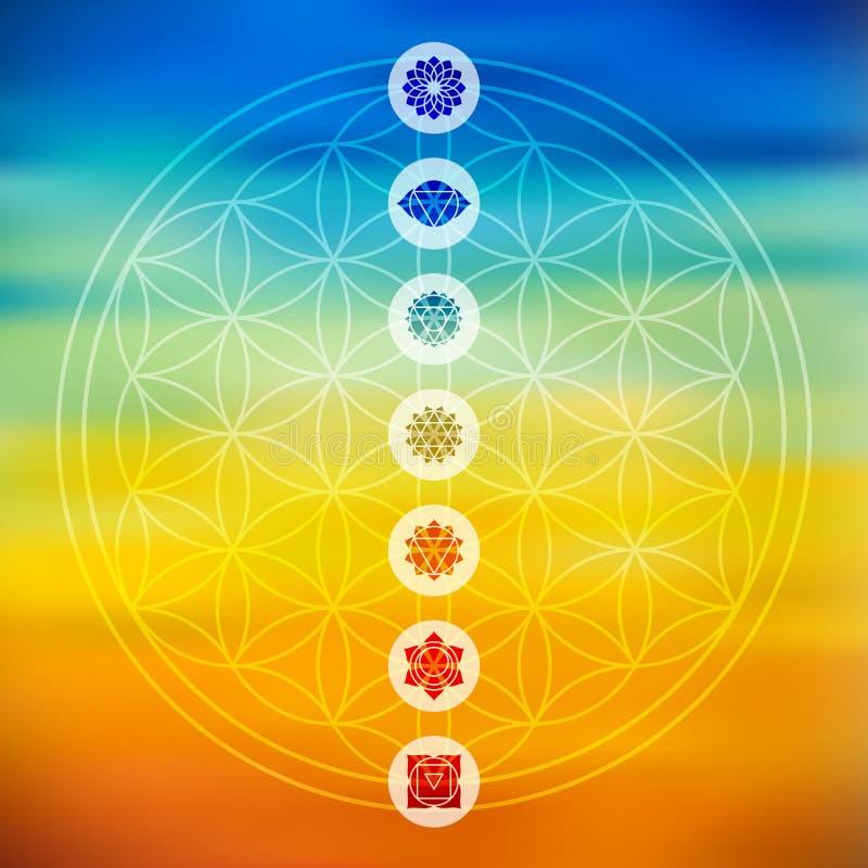 Geometría sagrada con el fondo colorido de los iconos del chakra stock de ilustración