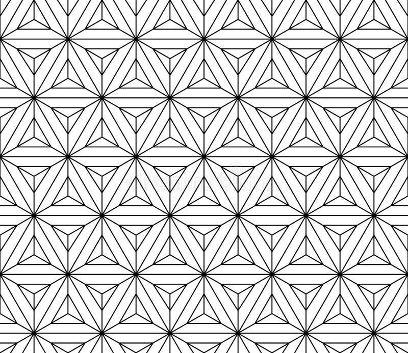 Geometría sagrada del modelo inconsútil blanco y negro ilustración del vector