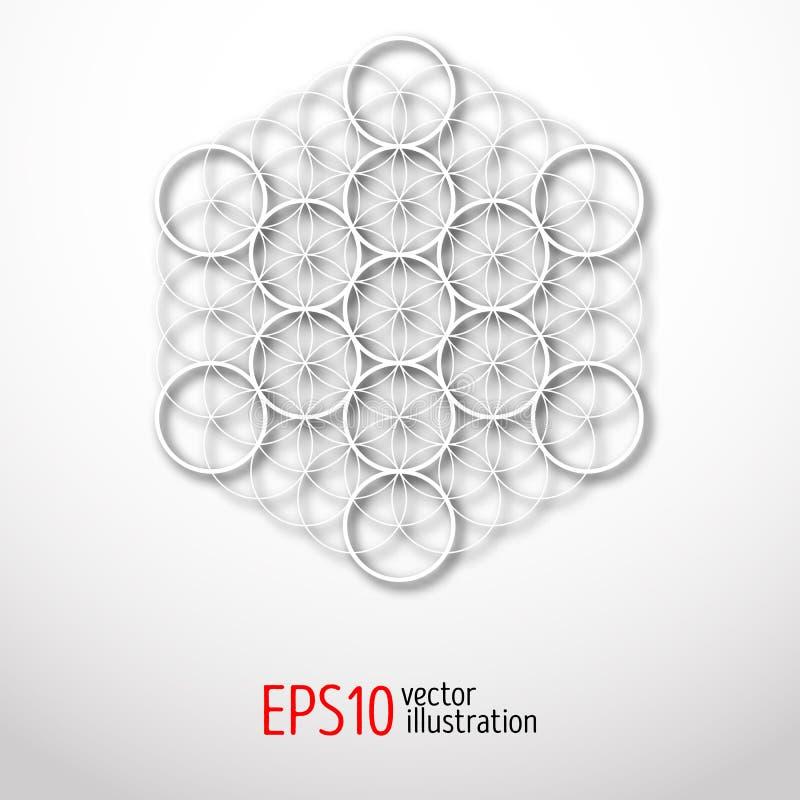 Geometría sagrada Ejemplo misterioso del cubo de Metatron ilustración del vector