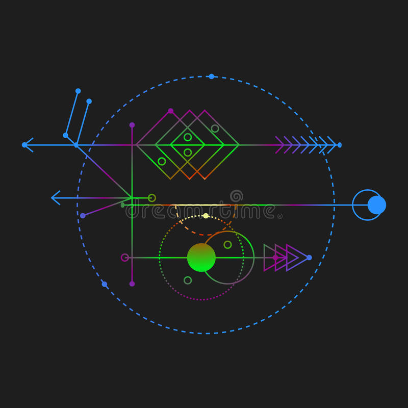 Geometría sagrada, elementos del diseño gráfico de vector stock de ilustración