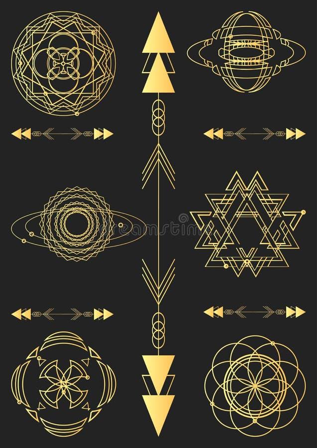 Geometría sagrada, elementos del diseño gráfico de vector conjunto stock de ilustración