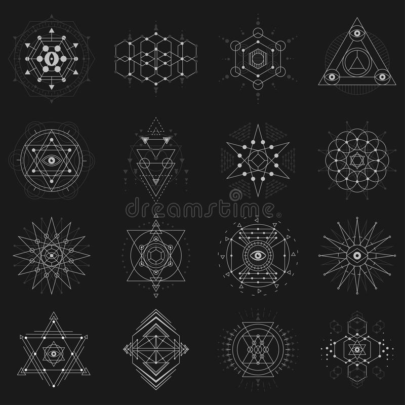 Geometría sagrada fijada en fondo negro stock de ilustración