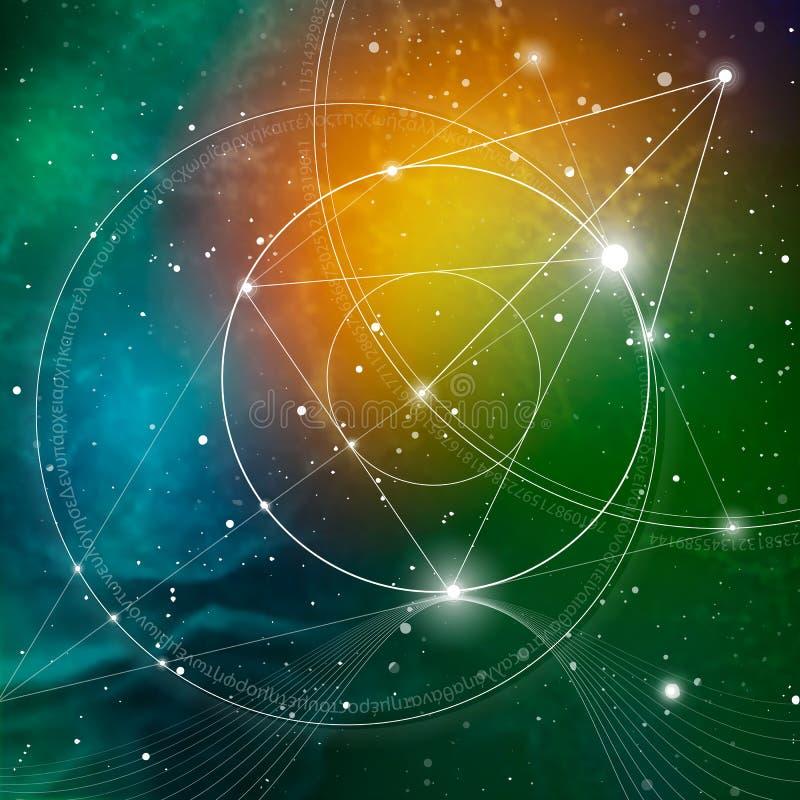 Geometría sagrada Matemáticas, naturaleza, y espiritualidad en espacio La fórmula de la naturaleza stock de ilustración