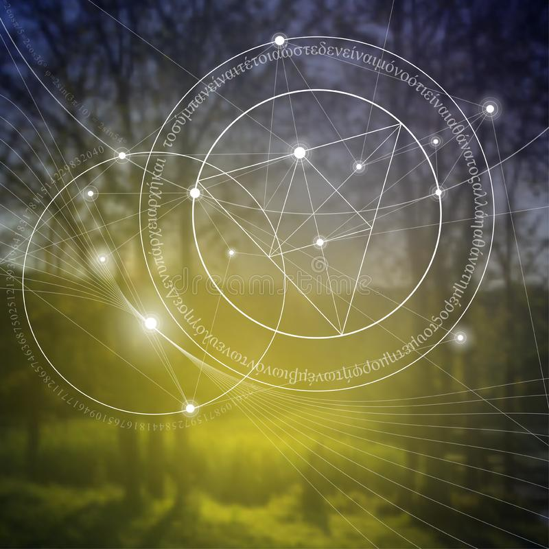 Geometría sagrada Matemáticas, naturaleza, y espiritualidad en naturaleza La fórmula de la naturaleza ilustración del vector