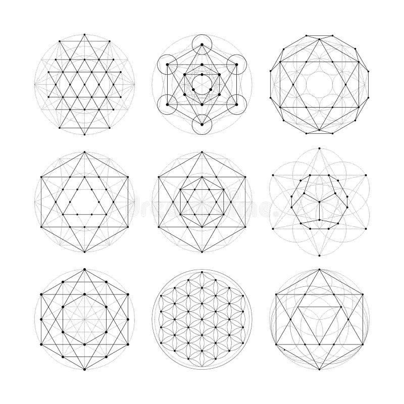 Geometría sagrada Muestras y símbolos de la astrología del Numerology stock de ilustración