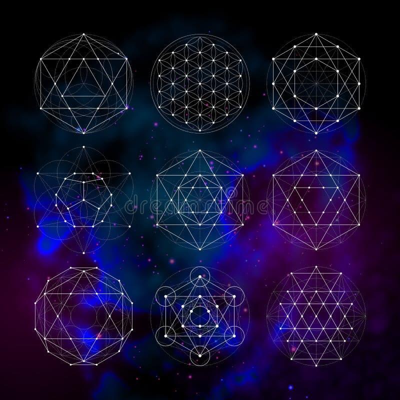 Geometría sagrada Muestras y símbolos de la astrología del Numerology libre illustration