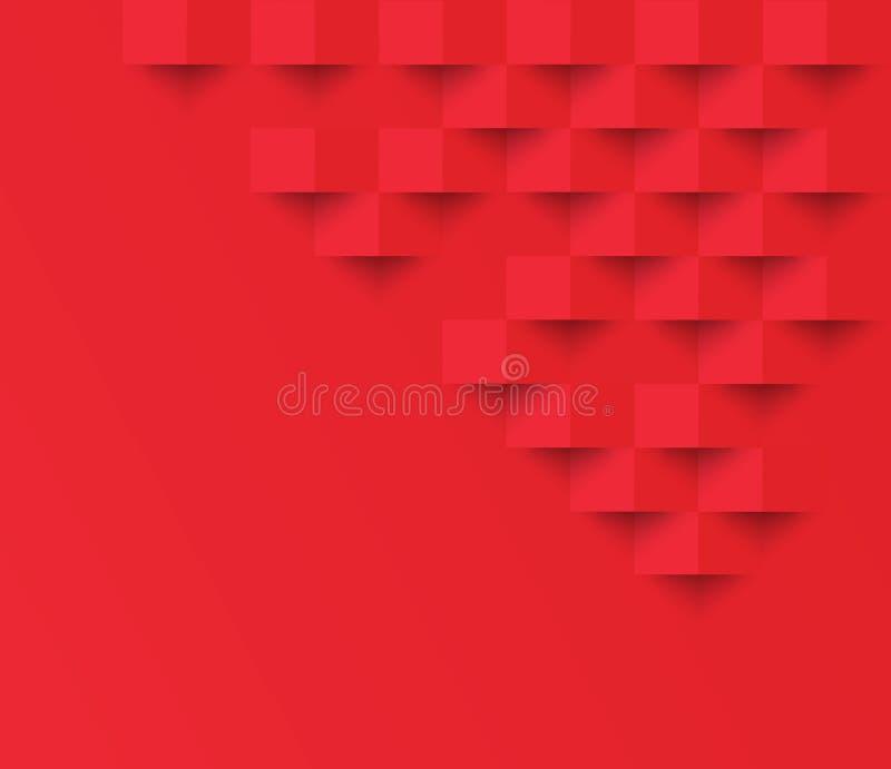 Geometr geométrico do quadrado do sumário do fundo da textura do quadrado vermelho ilustração stock