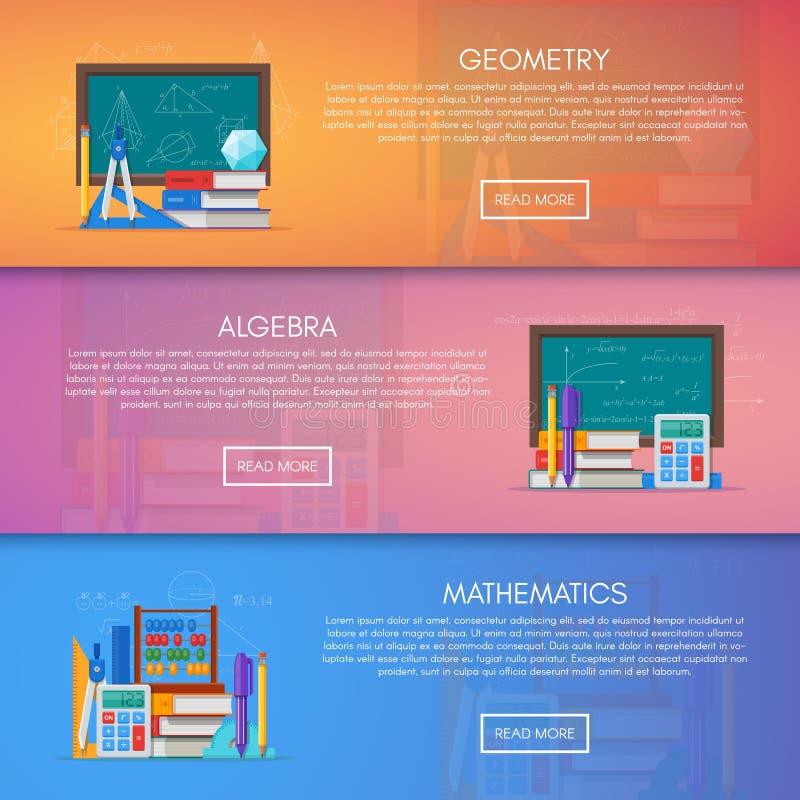 Geometri-, algebra- och matematikvektorbaner Affisch för vetenskapsutbildningsbegrepp i plan stildesign stock illustrationer
