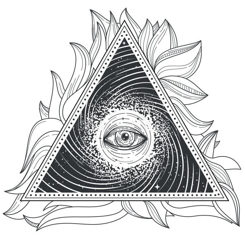 Geometri för abstrakt begrepp för vektortatueringillustration sakral med ettseende öga royaltyfri illustrationer
