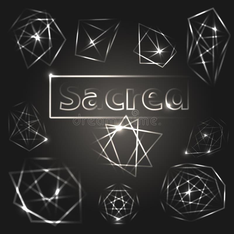 geometria święta Alchemia, religia, pirituality symbole Set błyszczący elementy ilustracji
