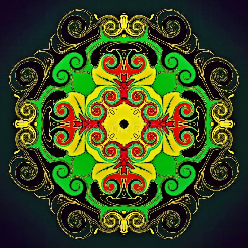 Geometria abstrata da arte moderna Mandala oriental místico projeto tradicional do caleidoscópio floral Backgro simétrico psicadé ilustração royalty free