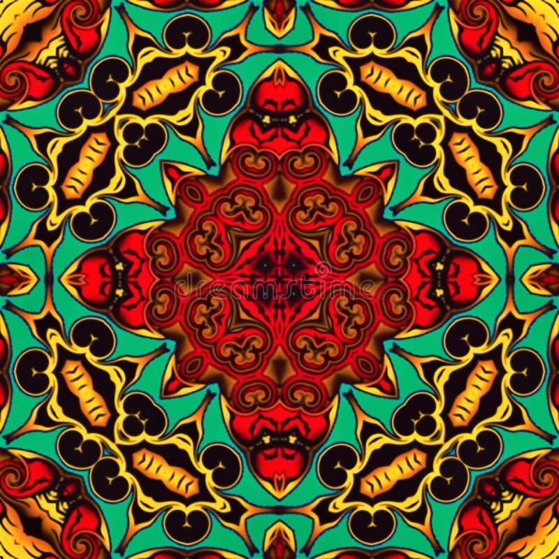 Geometria abstrata da arte moderna Mandala oriental místico projeto tradicional do caleidoscópio floral Backgro simétrico psicadé ilustração do vetor
