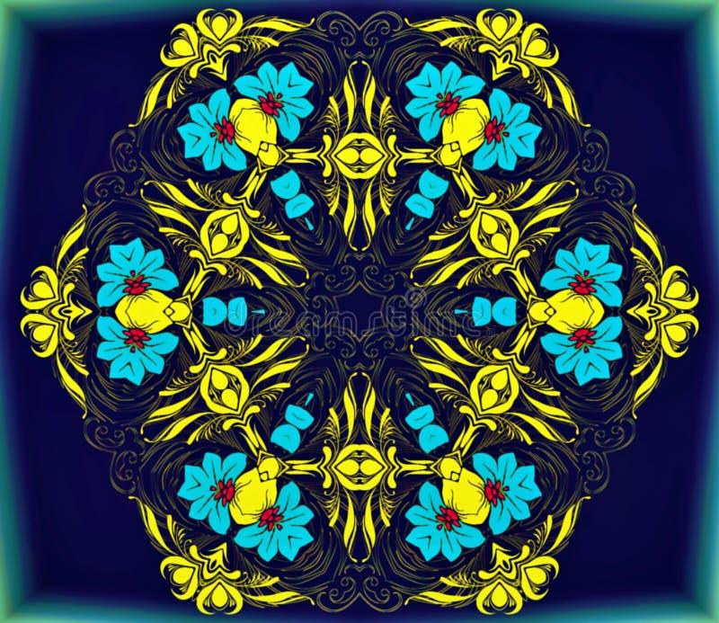 Geometria abstrata da arte moderna Mandala oriental místico projeto tradicional do caleidoscópio floral Backgro simétrico psicadé ilustração stock