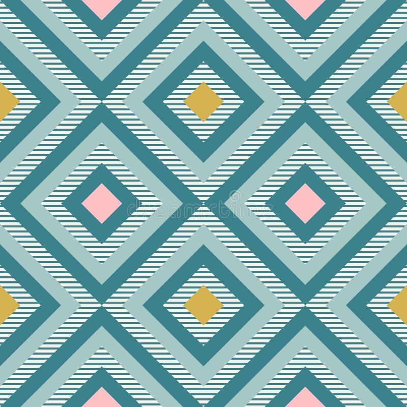 Geometria abstrata em cores retros, teste padrão do geo das formas do diamante ilustração do vetor