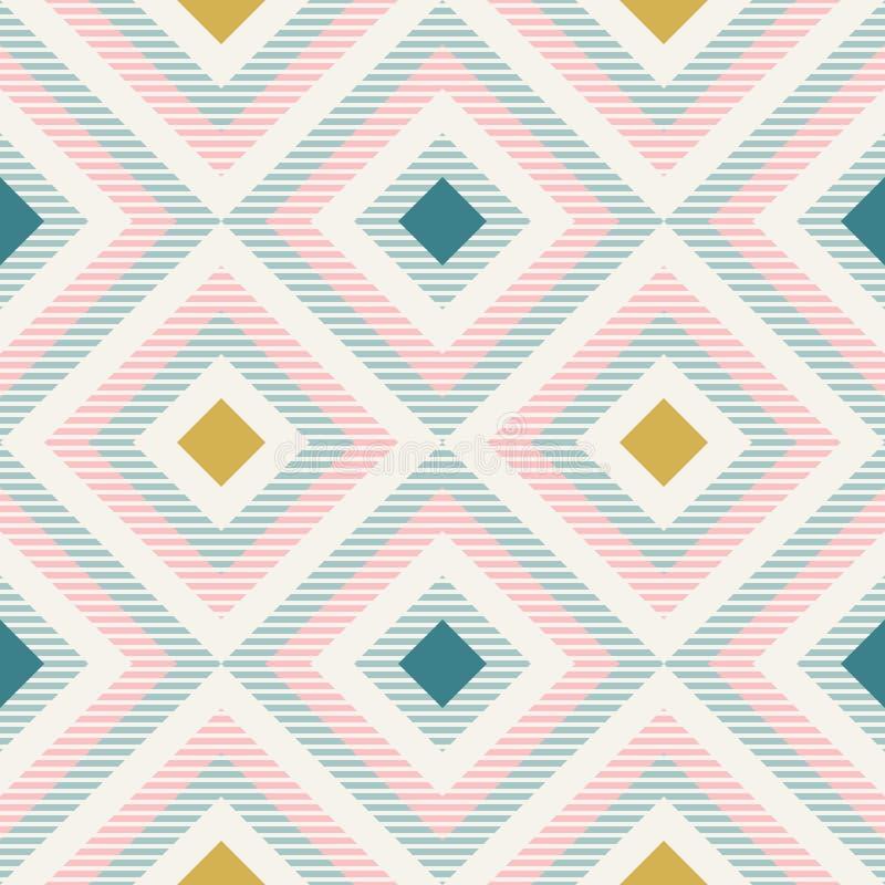 Geometria abstrata em cores retros, teste padrão do geo das formas do diamante ilustração royalty free