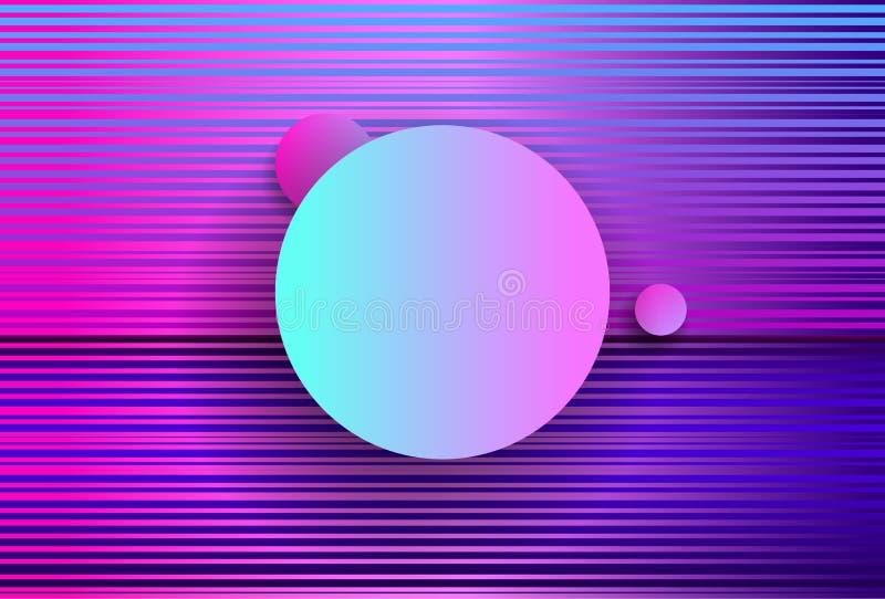Geometria abstrata futurista com círculos e as ondas cor-de-rosa cyberpunk Estilo de Synthwave Vaporwave Retrowave Vetor holográf ilustração royalty free