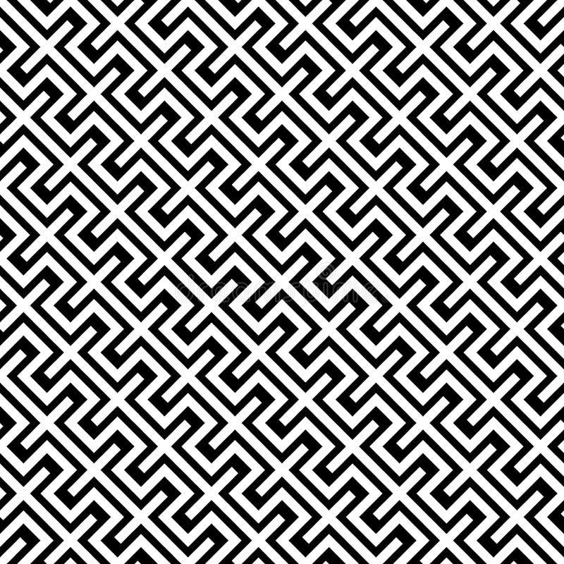 A geometria abstrata moderna do vetor alinha o teste padrão fundo geométrico sem emenda preto e branco ilustração do vetor
