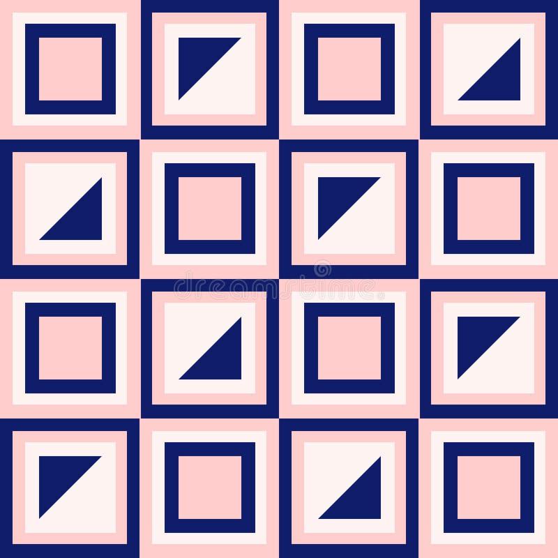 A geometria abstrata nos azuis marinhos e cora rosa ilustração do vetor