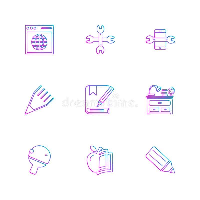 a geometria, ciência, educação, estudos, ícones do eps ajustou o vetor ilustração stock