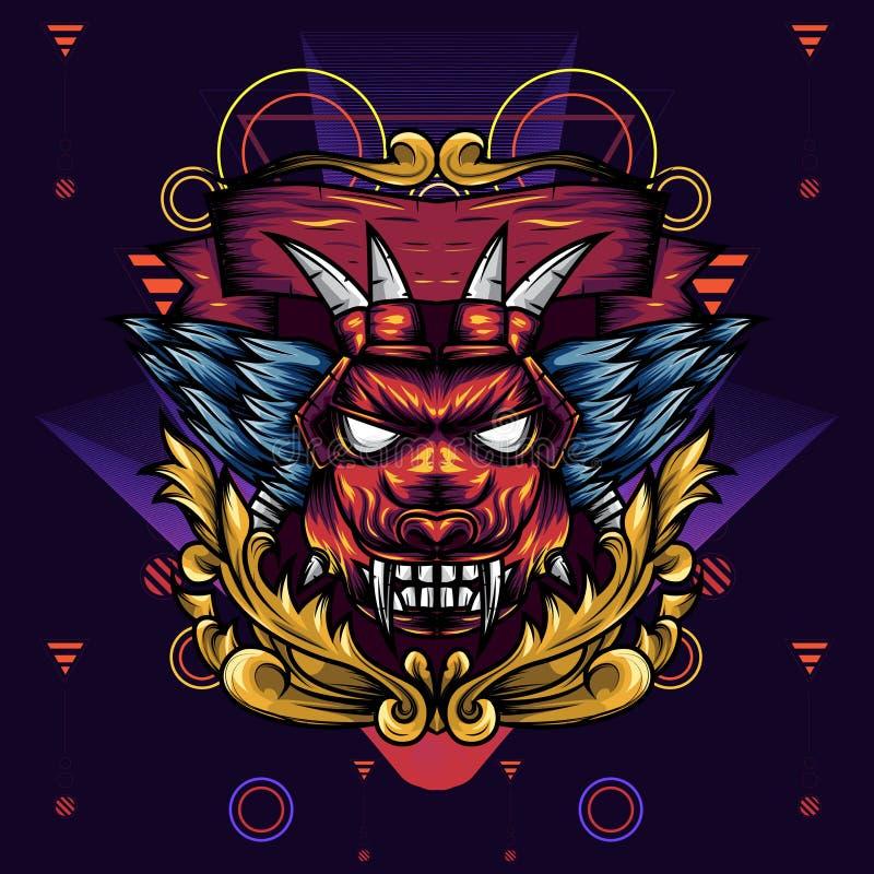 A geometria principal do diabo decorativa é uma ilustração da cabeça de um diabo com colmilhos e as asas afiados ilustração royalty free