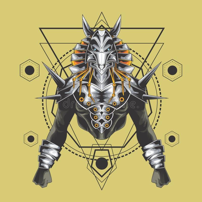Geometria sagrado dos anubis poderosos ilustração royalty free