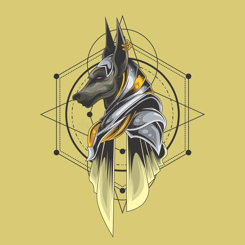 Geometria sagrado dos anubis santamente ilustração royalty free