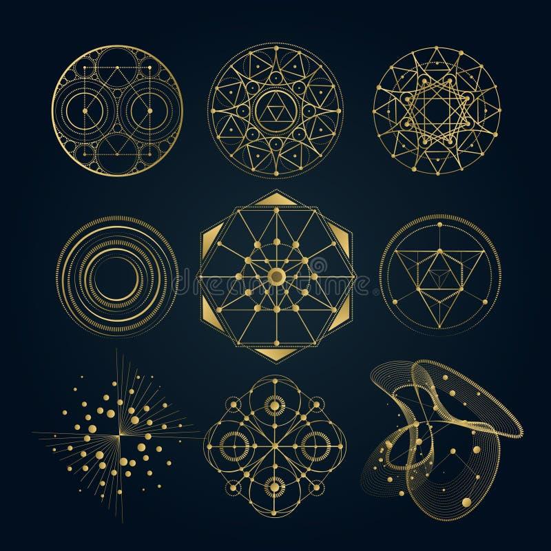 A geometria sagrado forma, dá forma das linhas, logotipo ilustração stock