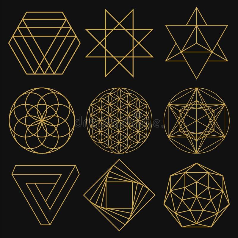 Geometria sagrado Grupo de nove figuras Ilustração do vetor ilustração do vetor