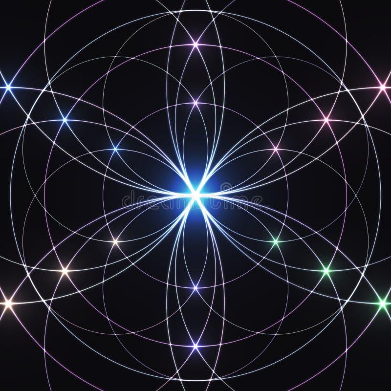 Geometria sagrado, ornamento geométrico de incandescência Fundo Mystical ilustração royalty free