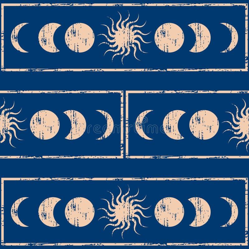 Geometria sagrado Sun e lua Fundo sem emenda ilustração royalty free
