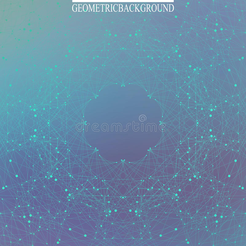 Geometric abstract backdrop with connected lines and dots. Science background. Abstract template. Graphic background stock illustration