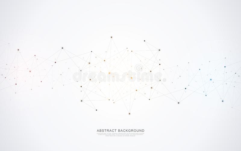 Geometric abstract background with connected dots and lines. Molecular structure and communication concept. Digital technology stock illustration