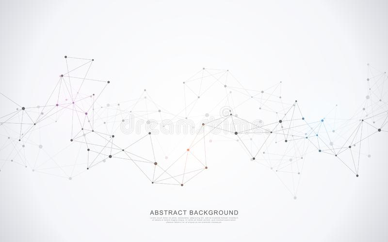 Geometric abstract background with connected dots and lines. Molecular structure and communication concept. Digital technology royalty free illustration