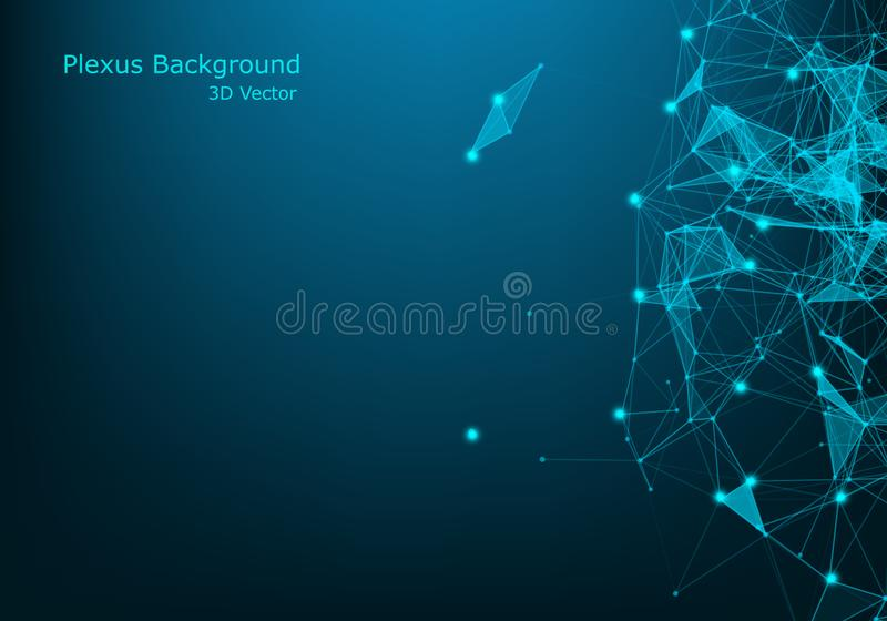 Geometric abstract background with connected dots and lines. Molecular structure and communication. Digital technology background royalty free illustration