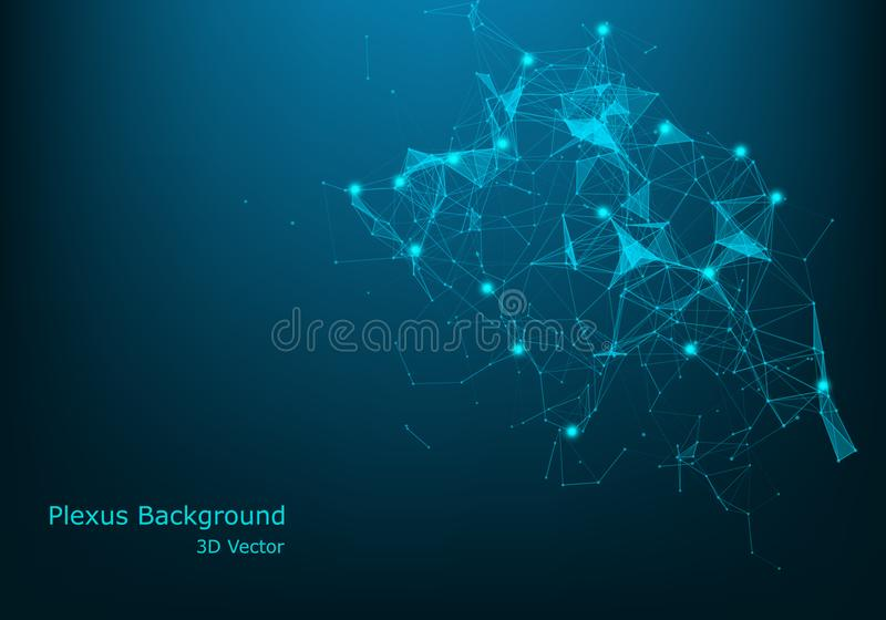 Geometric abstract background with connected line and dots. Big Data Visualization. Global network connection vector. Simple stock illustration