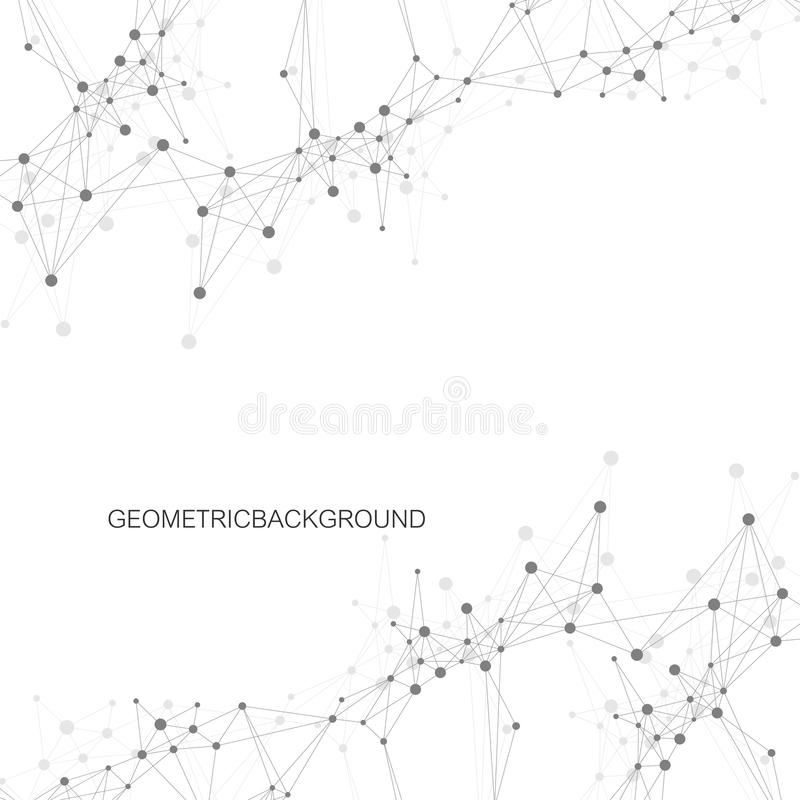 Geometric abstract background with connected line and dots. Graphic background for your design. Vector illustration. royalty free illustration