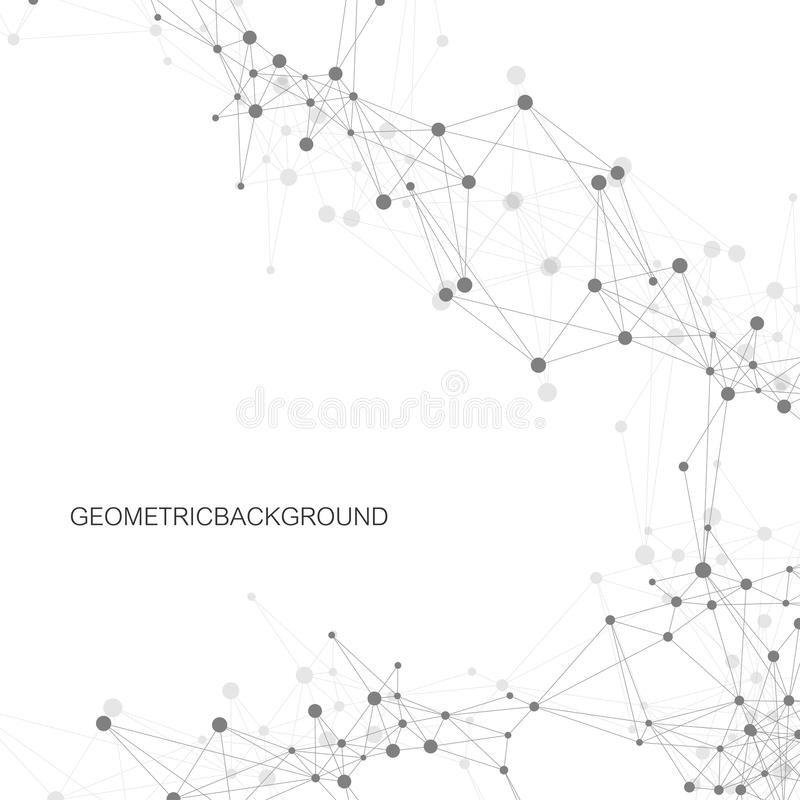 Geometric abstract background with connected line and dots. Graphic background for your design. Vector illustration. stock illustration
