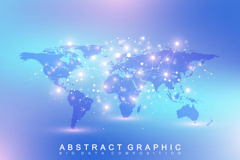 Geometric abstract background with connected line and dots. Network and connection background for your presentation. Graphic polygonal background with World royalty free illustration