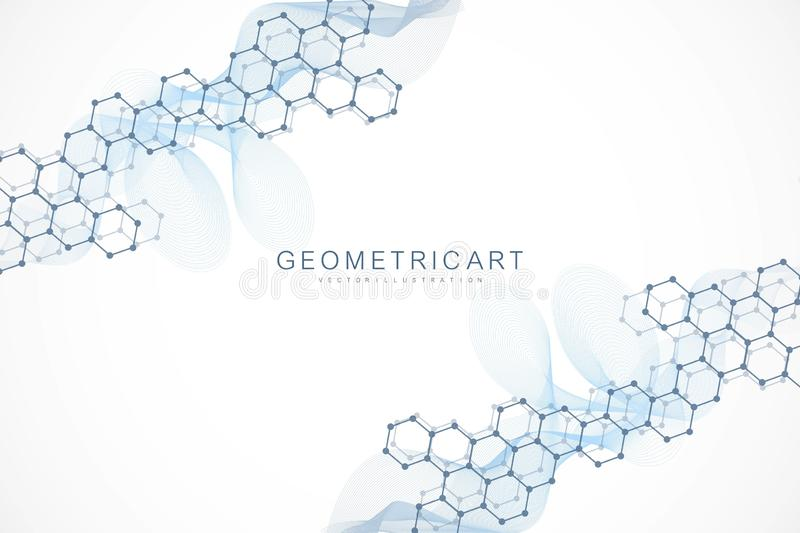 Geometric abstract background with connected line and dots. Scientific concept for your design. Global cryptocurrency. Blockchain business banner concept vector illustration