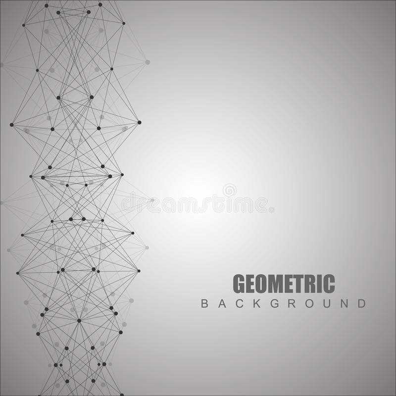 Geometric abstract background with connected line and dots. Scientific concept for your design. Vector illustration.  royalty free illustration