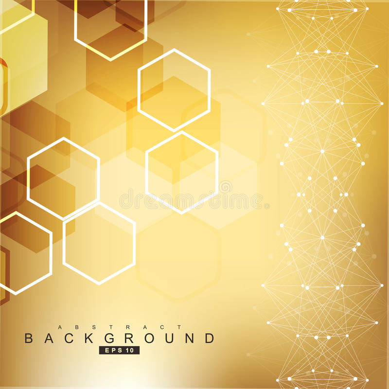 Geometric abstract background with connected line and dots. Scientific concept for your design. Vector illustration.  vector illustration