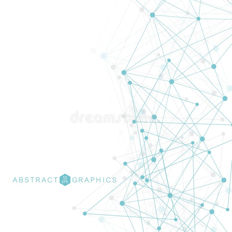 Geometric abstract background with connected line and dots. Structure molecule and communication. Big Data Visualization vector illustration