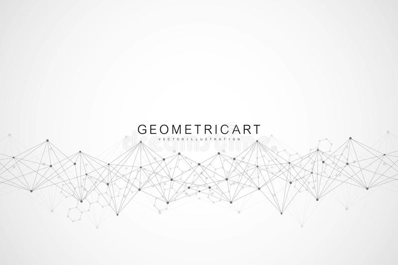 Geometric abstract background with connected line and dots. Structure molecule and communication. Scientific concept for vector illustration