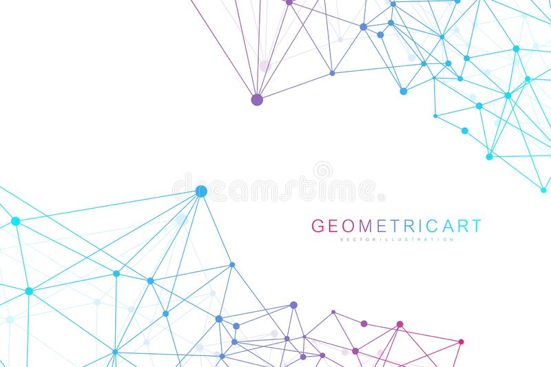 Geometric abstract background with connected line and dots. Structure molecule and communication. Scientific concept for royalty free illustration
