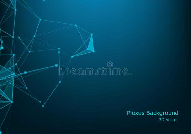 Geometric abstract background with connected line and dots. Structure molecule and communication. Scientific concept for your royalty free illustration
